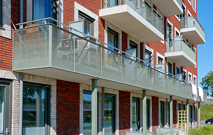 Balconies with expanded metal
